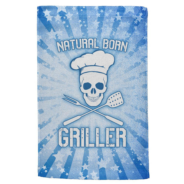 Natural Born Griller Blue All Over Hand Towel