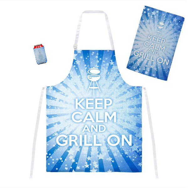 Keep Calm and Grill On Blue All Over Grill Set