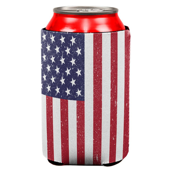 4th of July Distressed American Flag All Over Can Cooler