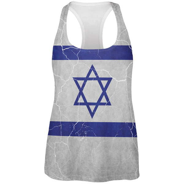 Distressed Israeli Flag All Over Womens Work Out Tank Top