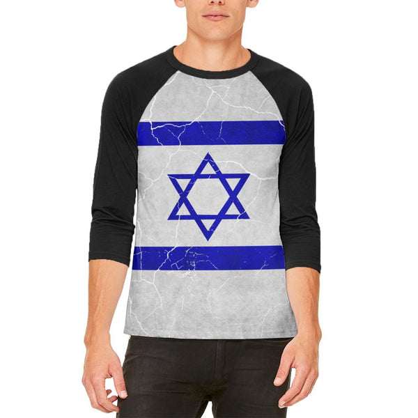 Distressed Israeli Flag Mens Raglan T Shirt