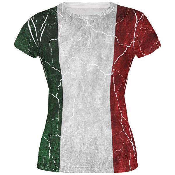 Distressed Italian Flag All Over Juniors T Shirt