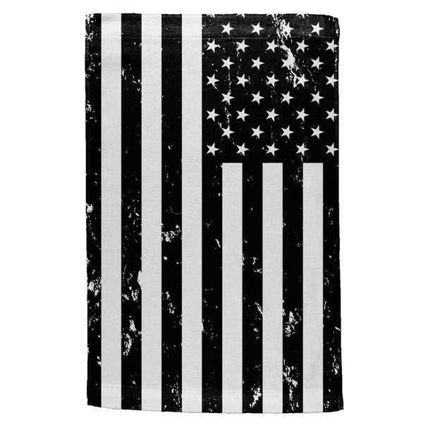4th of July Black and White Distressed American Flag All Over Hand Towel