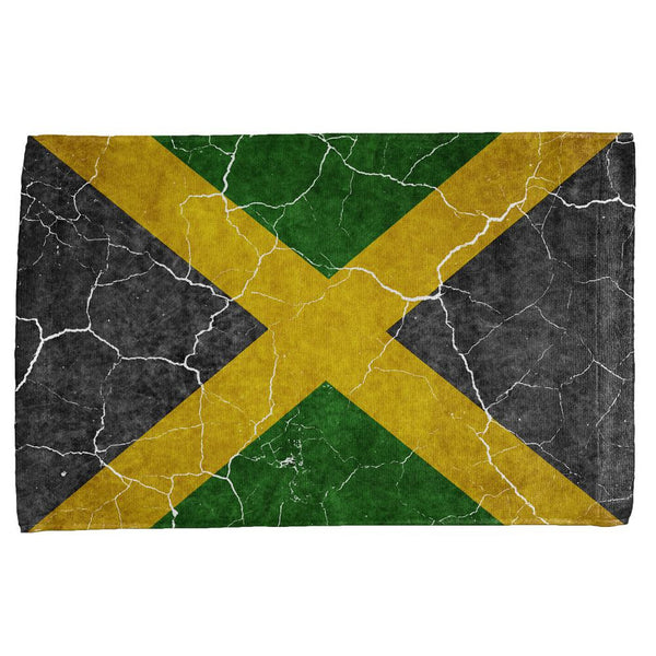 Distressed Jamaican Flag All Over Hand Towel