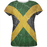 Distressed Jamaican Flag All Over Womens T Shirt