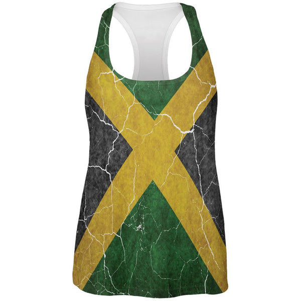 Distressed Jamaican Flag All Over Womens Work Out Tank Top