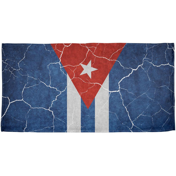 Distressed Cuban Flag All Over Beach Towel