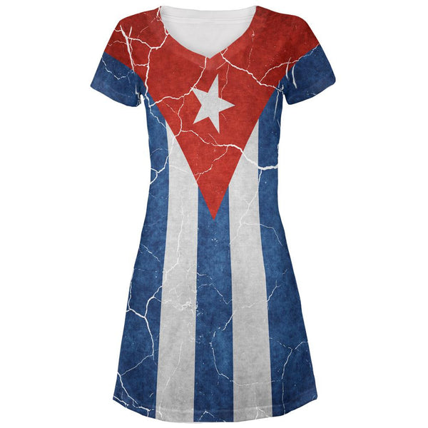 Distressed Cuban Flag All Over Juniors V-Neck Dress