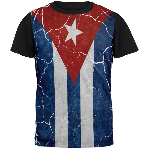 Distressed Cuban Flag All Over Mens Black Back T Shirt