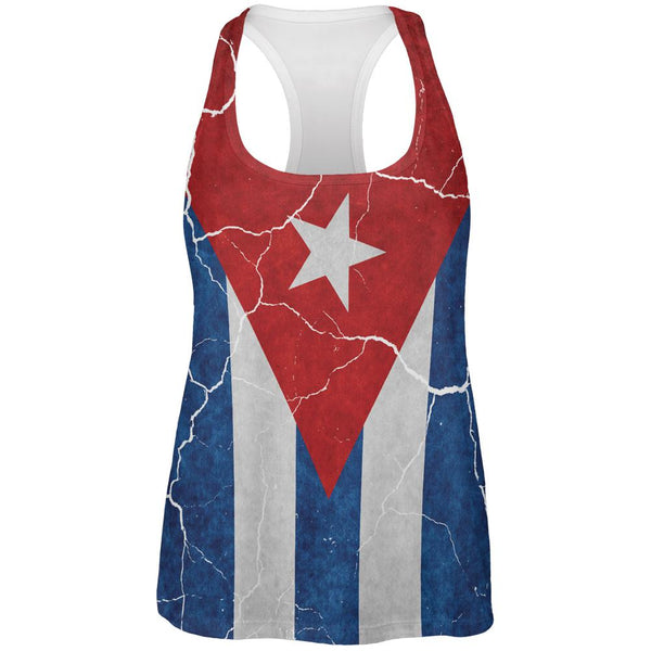 Distressed Cuban Flag All Over Womens Work Out Tank Top