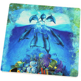 Dolphins Jumping Over Reef Square Sandstone Coaster
