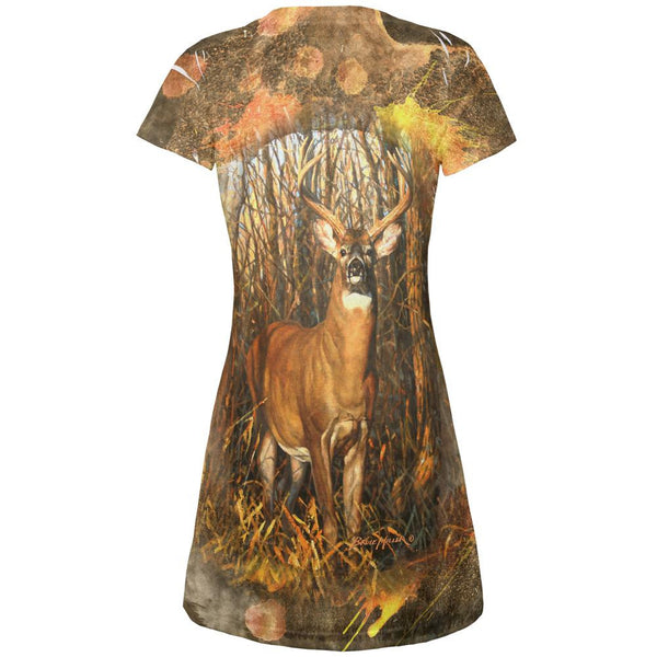10 Point Buck Splatter All Over Juniors V-Neck Dress
