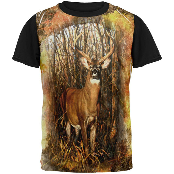 10 Point Buck Splatter All Over Mens Black Back T Shirt