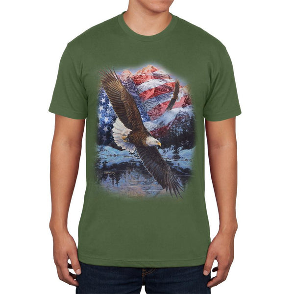 4th of July American Flag Bald Eagle Mens Soft T Shirt
