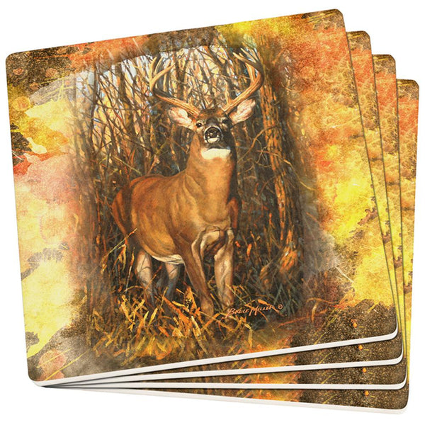 10 Point Buck Splatter Set of 4 Square Sandstone Coasters