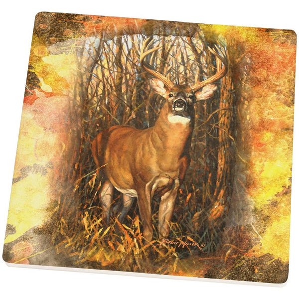10 Point Buck Splatter Square Sandstone Coaster
