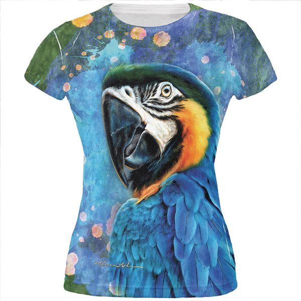 Exotic Blue Gold Macaw All Over Juniors T Shirt