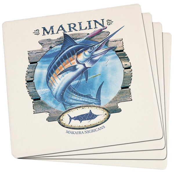 Marlin Deep Sea Fishing Set of 4 Square Sandstone Coasters