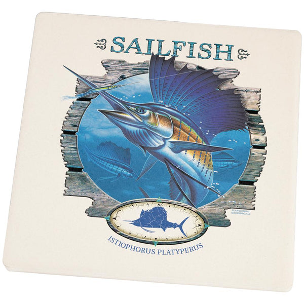 Sailfish Deep Sea Fishing Square Sandstone Coaster