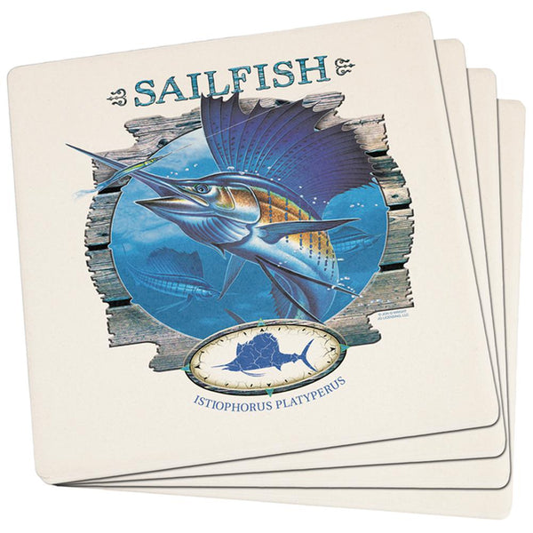Sailfish Deep Sea Fishing Set of 4 Square Sandstone Coasters