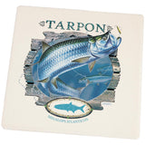 Tarpon Deep Sea Fishing Square Sandstone Coaster
