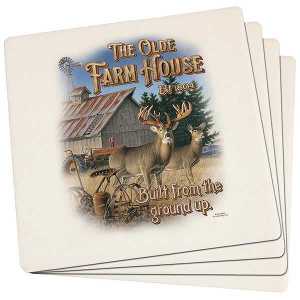 The Olde Farm House Set of 4 Square Sandstone Coasters