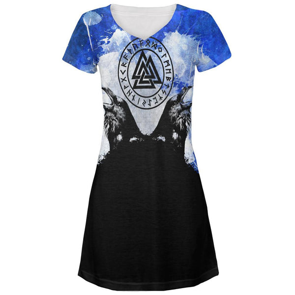 Huginn and Muninn Odin's Ravens Blue Splatter All Over Juniors V-Neck Dress