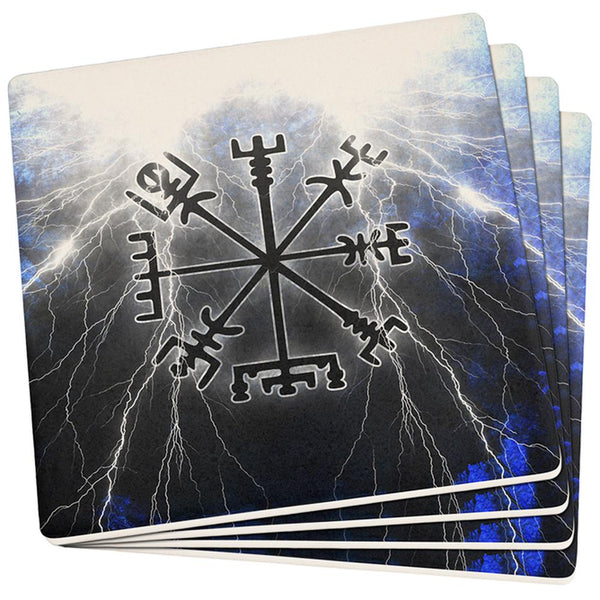 Vegvisir Nordic Viking Storm Compass Set of 4 Square Sandstone Coasters