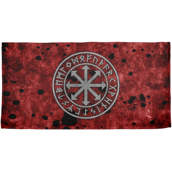 Viking Warrior Chaos Symbol All Over Beach Towel