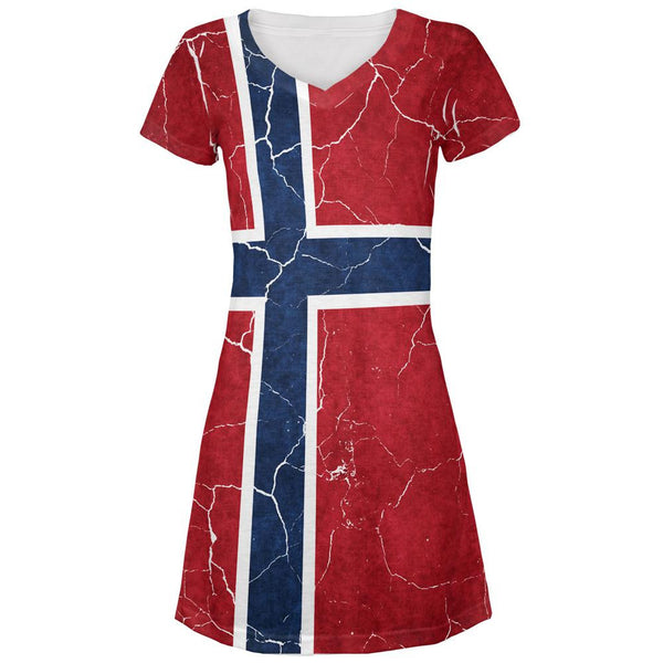 Distressed Norwegian Flag All Over Juniors V-Neck Dress