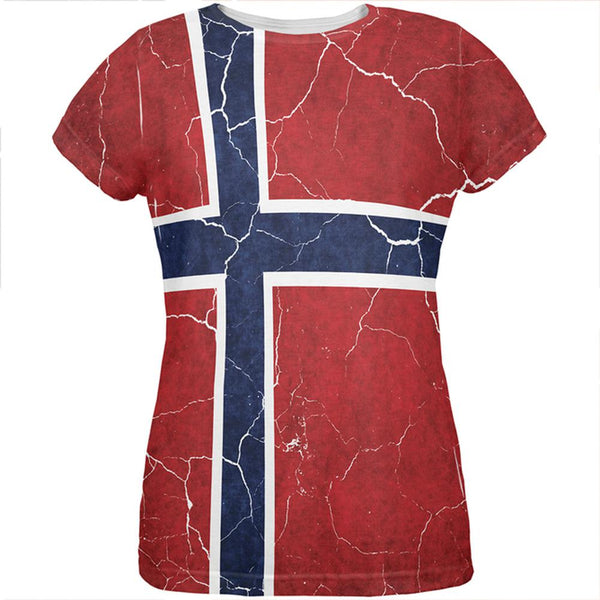 Distressed Norwegian Flag All Over Womens T Shirt
