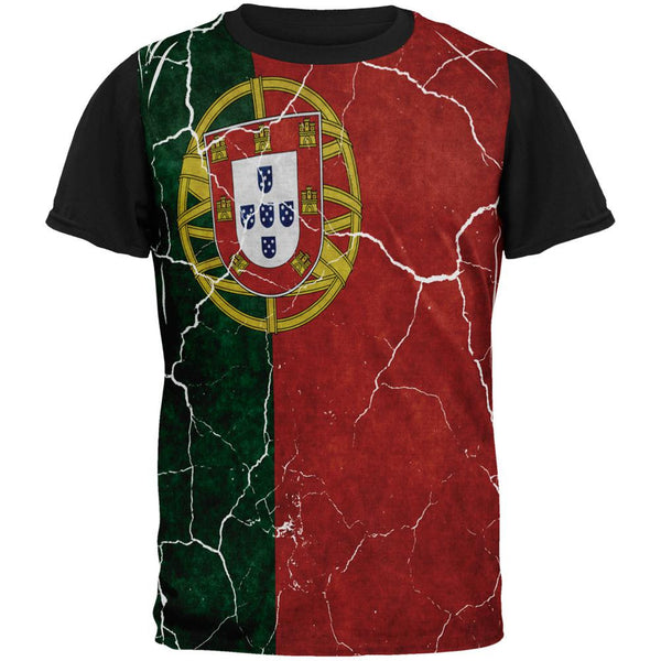 Distressed Portuguese Flag All Over Mens Black Back T Shirt