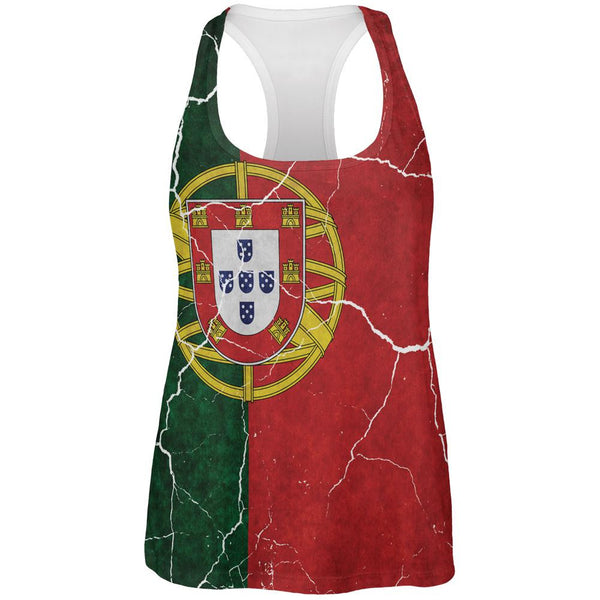 Distressed Portuguese Flag All Over Womens Work Out Tank Top