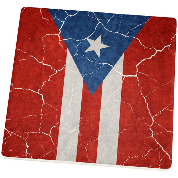 Distressed Puerto Rican Flag Square Sandstone Coaster