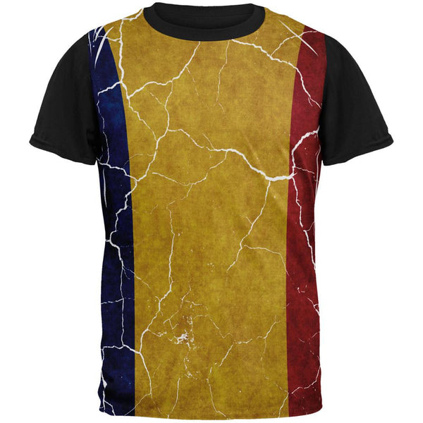 Distressed Romanian Flag All Over Mens Black Back T Shirt