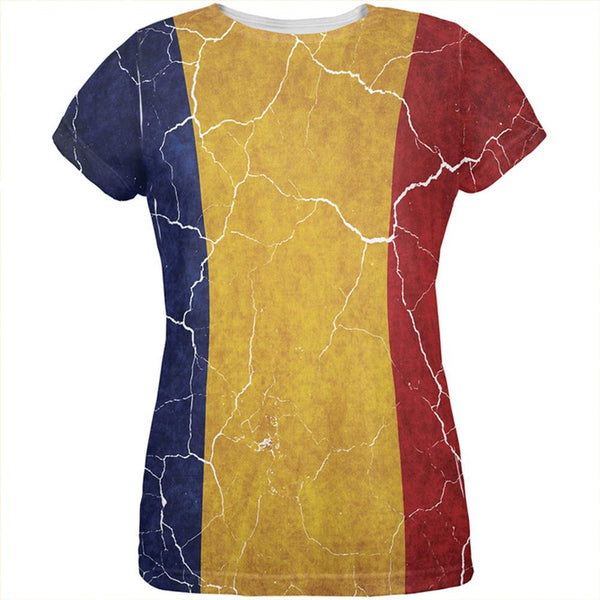Distressed Romanian Flag All Over Womens T Shirt