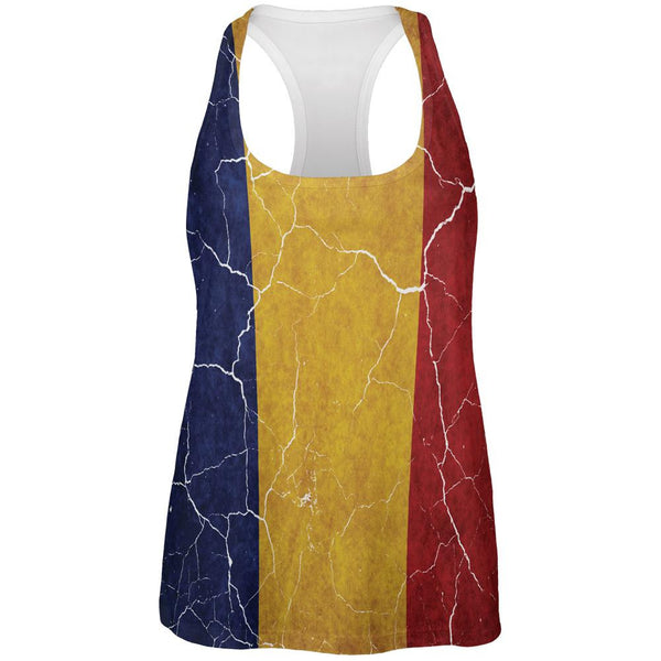 Distressed Romanian Flag All Over Womens Work Out Tank Top