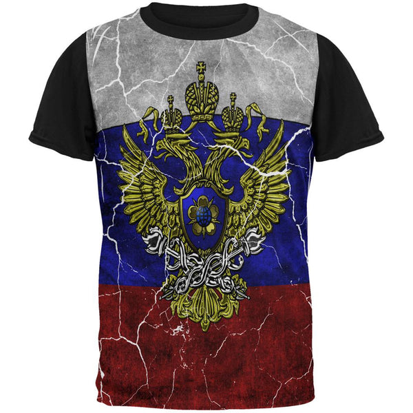 Distressed Russian Imperial Flag All Over Mens Black Back T Shirt