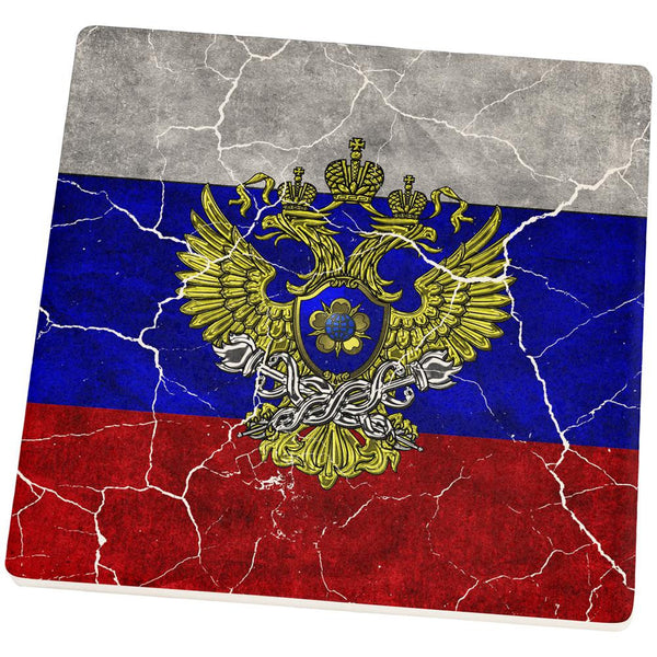 Distressed Russian Imperial Flag Set of 4 Square Sandstone Coasters