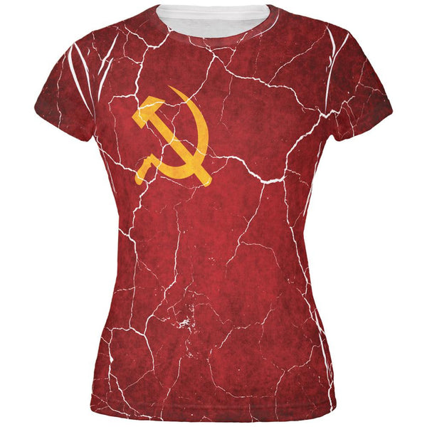 Distressed Soviet Union Flag All Over Juniors T Shirt