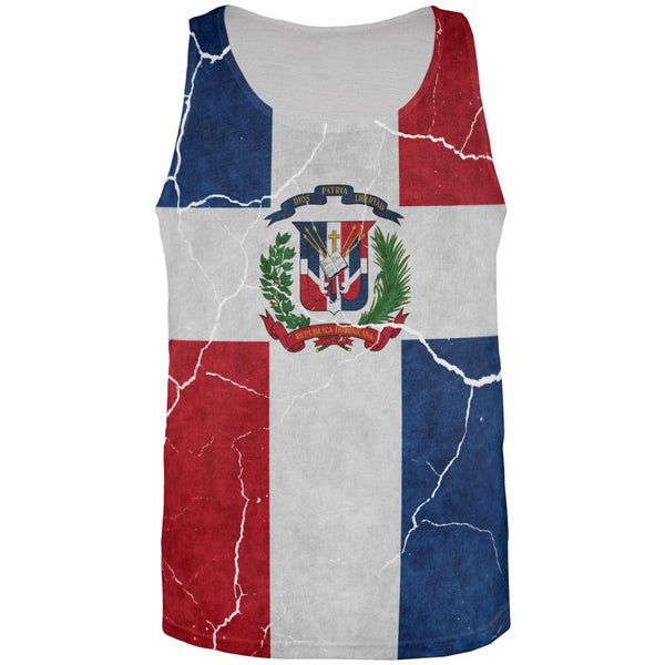 Distressed Dominican Republic Flag All Over Mens Tank Top