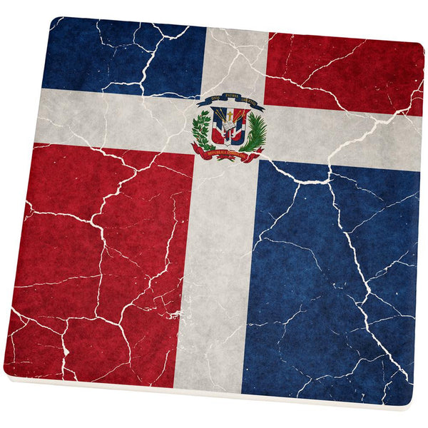 Distressed Dominican Republic Flag Set of 4 Square Sandstone Coasters
