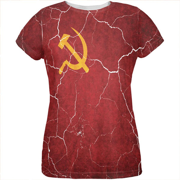 Distressed Soviet Union Flag All Over Womens T Shirt
