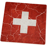 Distressed Swiss Flag Square Sandstone Coaster