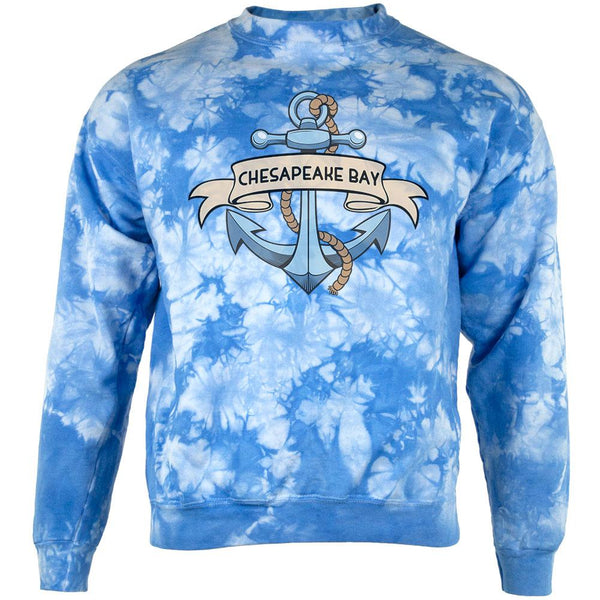 Anchor at Chesapeake Bay Mens Sweatshirt Tie Dye