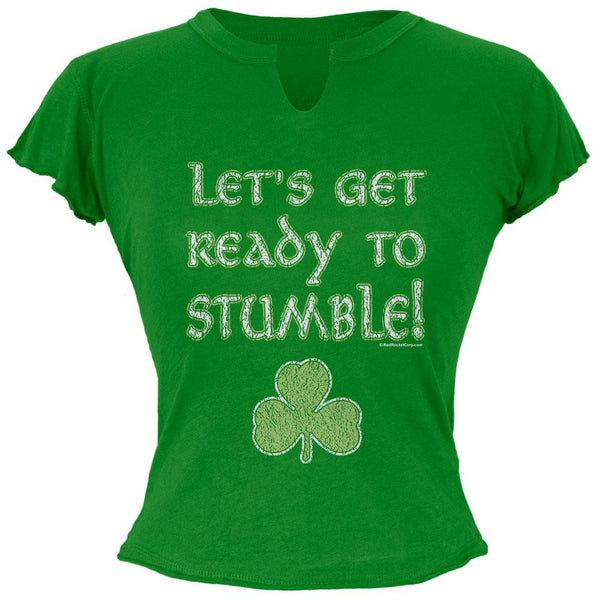 St. Patricks Day - Lets Get Ready To Stumble Juniors Raw Edge T Shirt