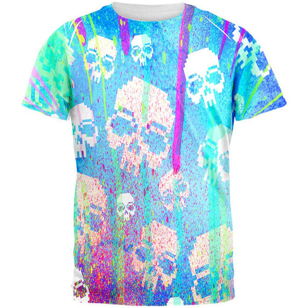 Splatter and Skulls All Over Mens T Shirt