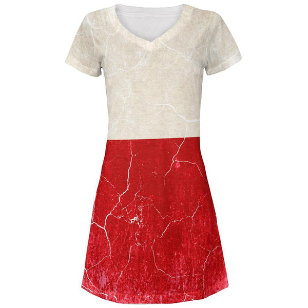 Distressed Grunge Polish Flag All Over Juniors V-Neck Dress