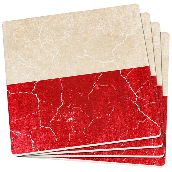 Distressed Grunge Polish Flag Set of 4 Square Sandstone Coasters
