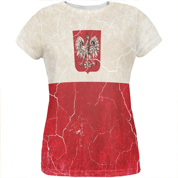 Distressed Grunge Polish Crest Flag All Over Womens T Shirt